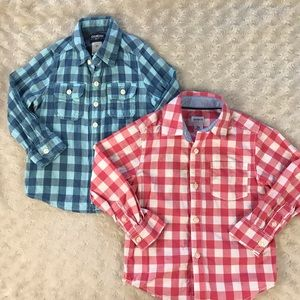 Toddler Boy Long Sleeve Shirt Bundle Gingham 3T